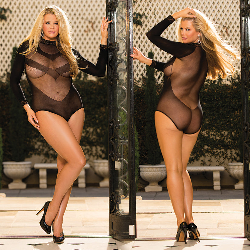 Hot Stretch Lace Long Sleeve Mesh Teddy-Black O/S X