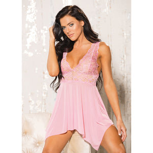 Hot 2pc Stretch Lace & Mesh Babydoll-Light Pink O/S