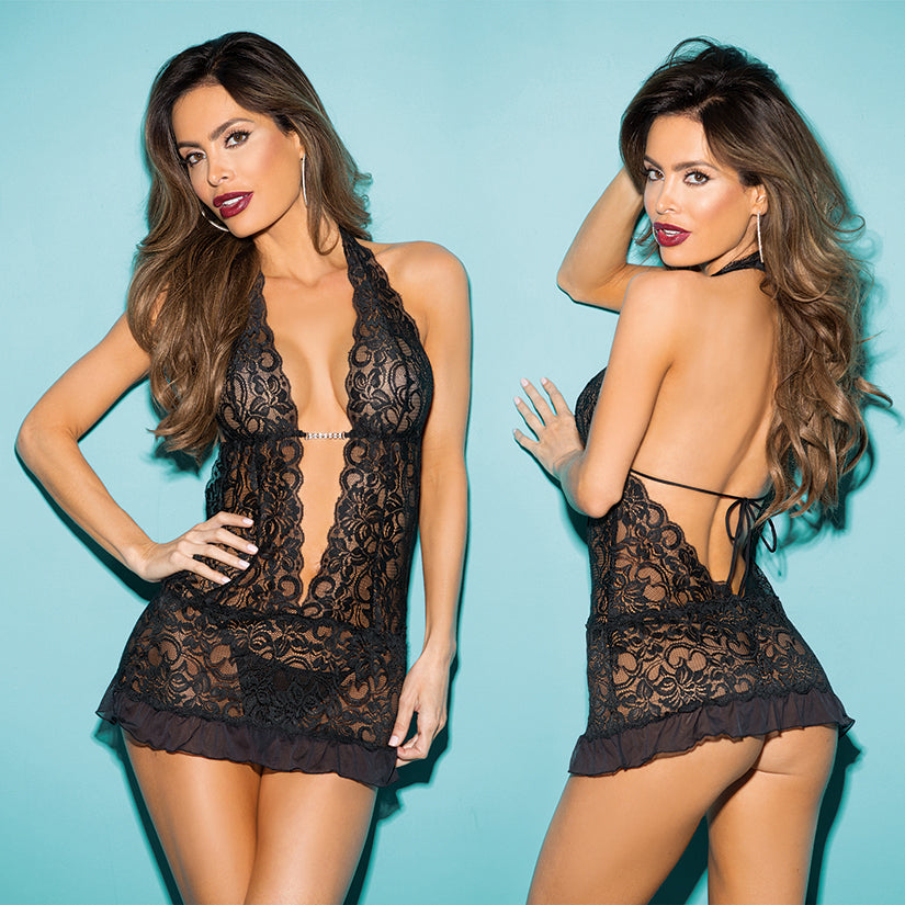 Hot 3pc Stretch Lace Gartered Chemise-Black O/S