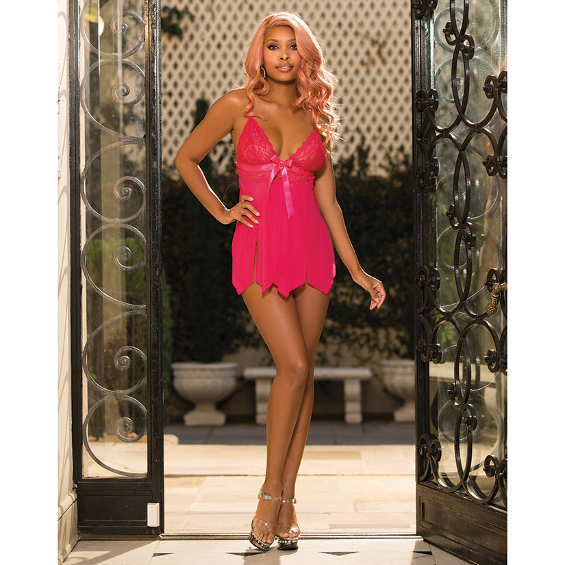 Hot 2pc Stretch Lace & Soft Mesh Babydoll-Berry O/S