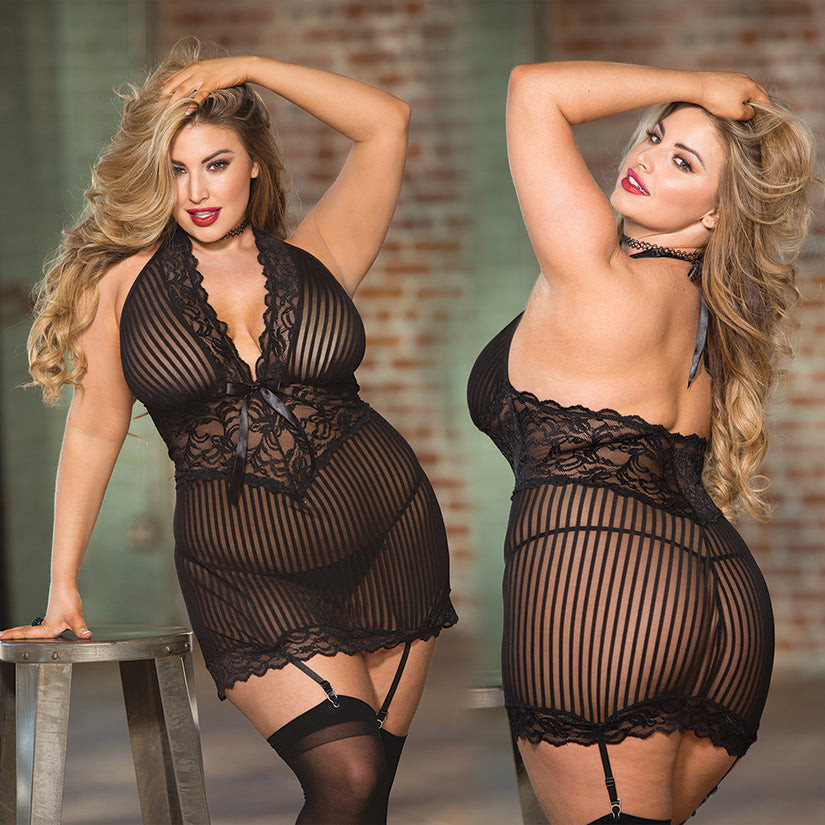 Hot 3pc Sheer Mesh & Lace Gartered Chemise-Black O/S X