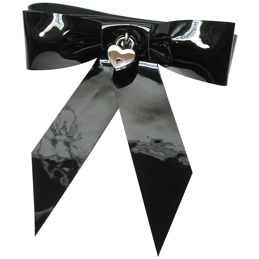 Patent Leather Bow Wrist Restraint Black