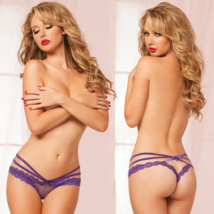 Open Crotch Fence Mesh Strappy Detail Panty-Purple Small