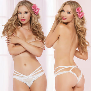 Open Crotch Fence Mesh Strappy Detail Panty-White Medium