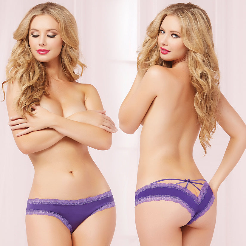 Cage Back Lace & Microfiber Panty w/Bow-Purple Small