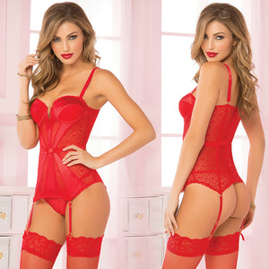 Pleasure Principle Satin & Geo Lace Bustier Set-Red Large