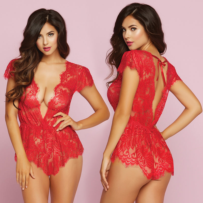 Temptation Eyelash Lace Romper-Red Large