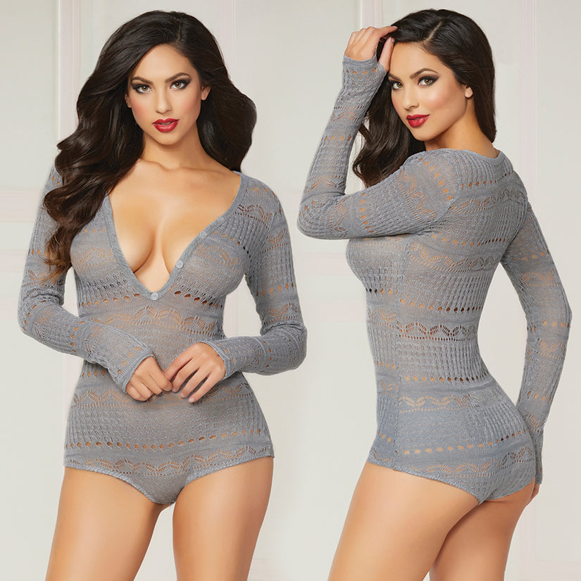 Knit Long Sleeve Romper-Grey Small