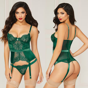 Lace & Satin Bustier With Garter-Green Small