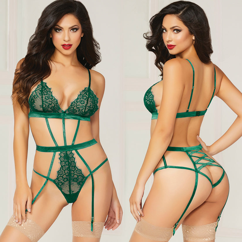 Eyelash Lace And Satin Teddy With Eye Mask-Green O/S