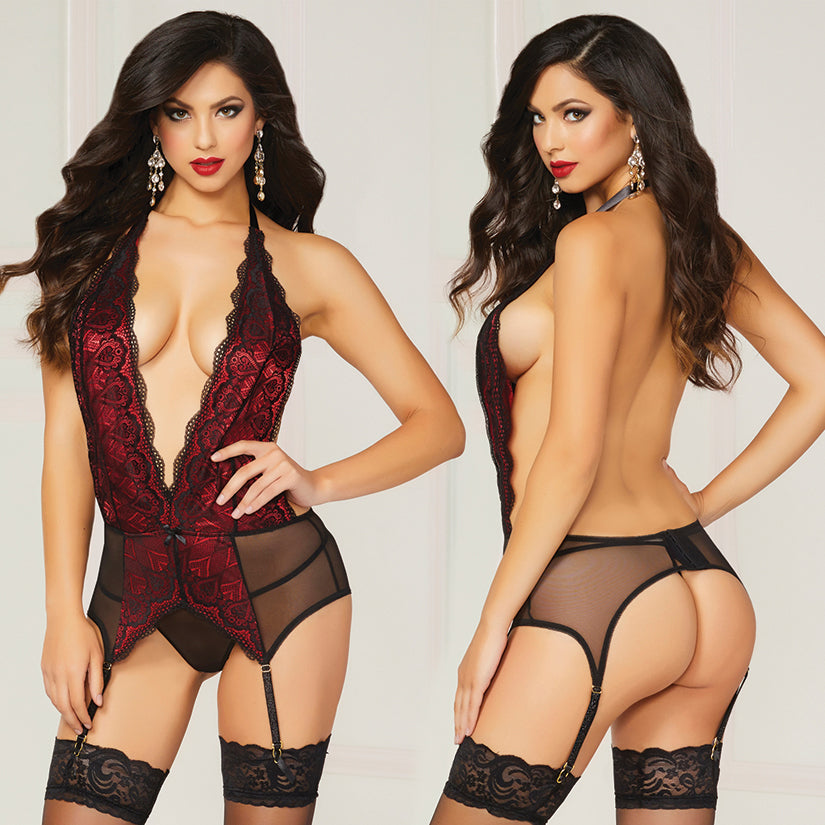Galloon Lace And Mesh Chemise With Thong-Black O/S