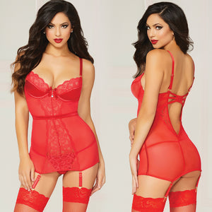 Crimson Crush Chemise Stretch Lace Satin-Red X-Large