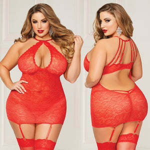 Lace Halter Chemise  - Queen One Size - Red
