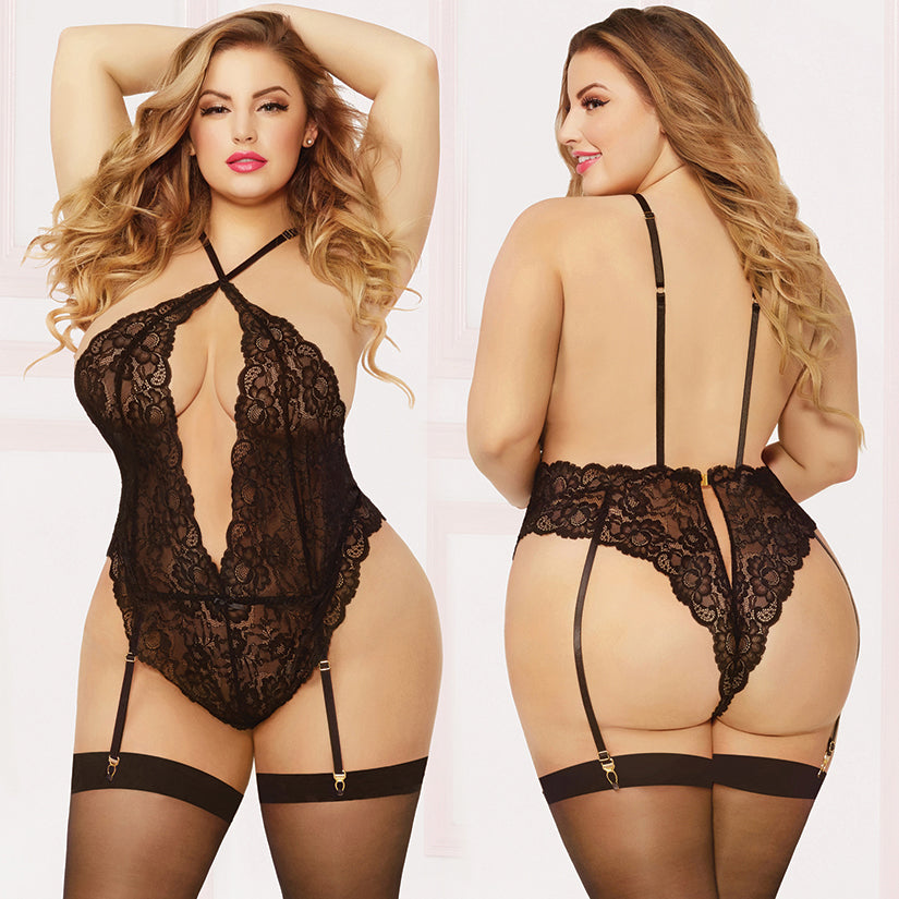 Lace Teddy W/garters & Thigh High - Queen Size - Black