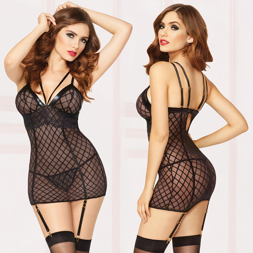 Chemise With Garter & Thong - Extra Large - Black