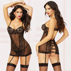 Galloon Lace Chemise With Back Bow And Thong-Black Small