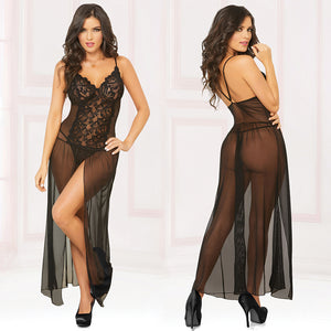 Mesh Gown With Center Slit And Thong-Black Small