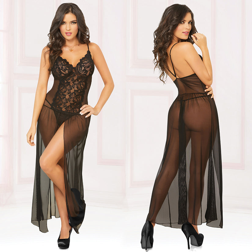 Mesh Gown With Center Slit And Thong-Black Large