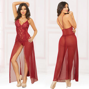 Mesh Gown With Center Slit And Thong-Wine Small