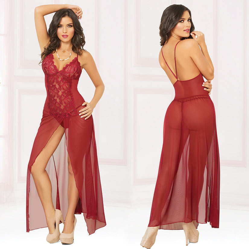 Mesh Gown With Center Slit And Thong-Wine X-Large