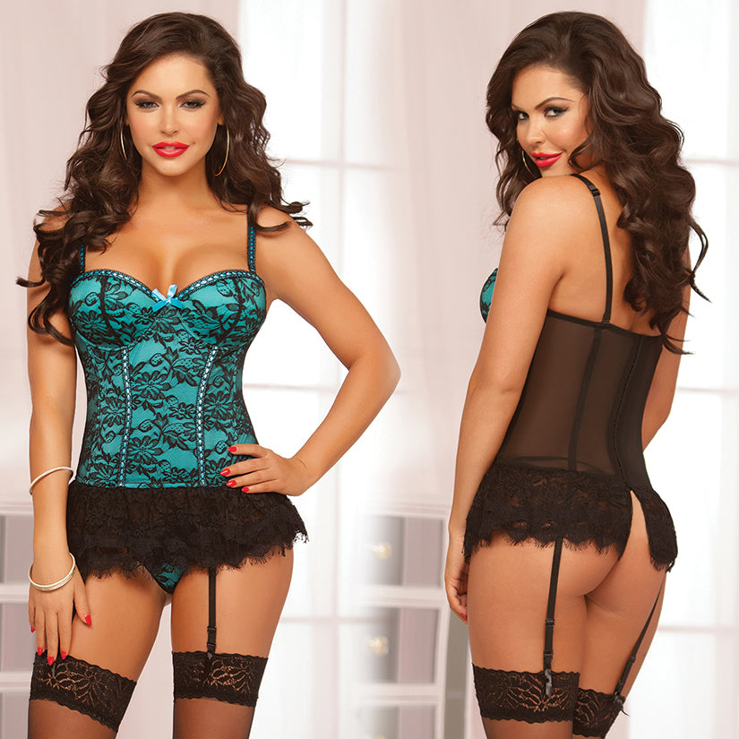 Victorian Lace Bustier 2 Piece Set-Teal X-Large