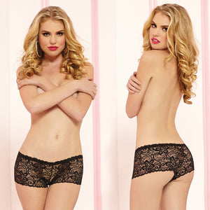 Allover Lace Boyshorts-Black Small
