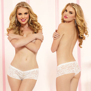 Allover Lace Boyshorts-White Large
