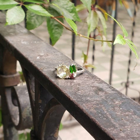 Lina ring Lemon quartz + Tsavorite + Garnet 5.5