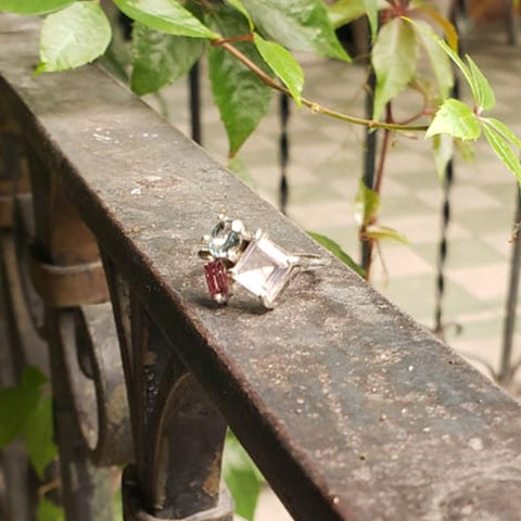 Lina ring Blue topaz + Rose quartz + Garnet 6.5