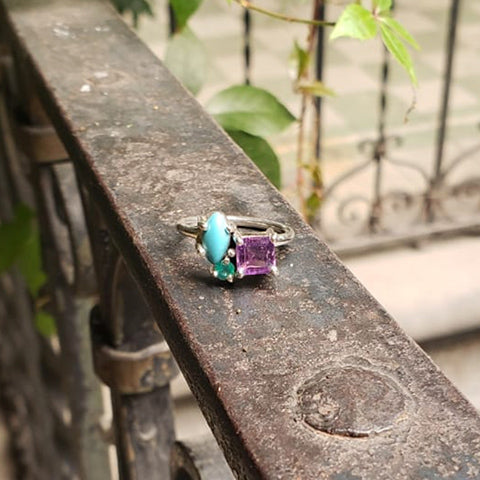 Lina ring Turquoise + Green agate + Amethyst 5.5