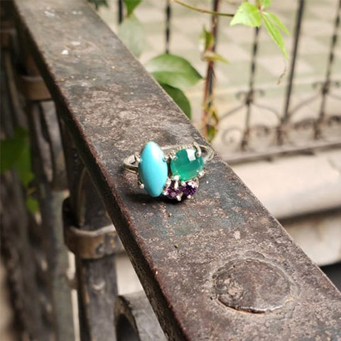Lina ring Turquoise + Green agate + Amethyst 7.5