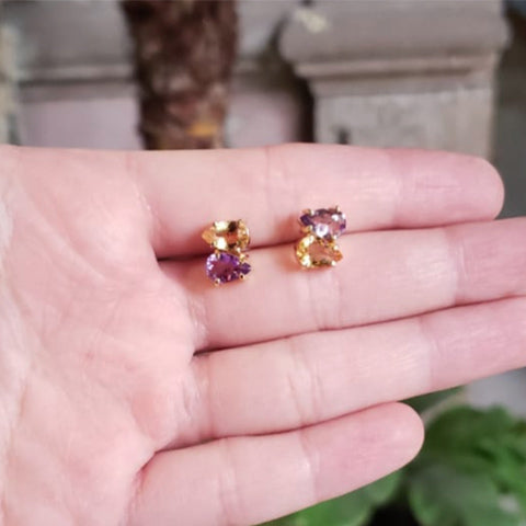 Duet earrings Citrine + Amethyst Gold plated