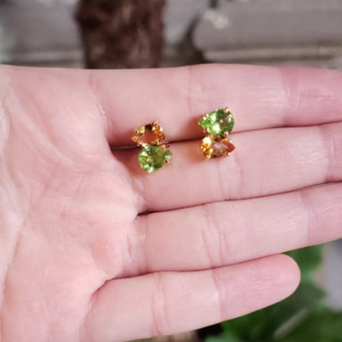 Duet earrings Citrine + Peridot Gold plated