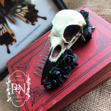 Load image into Gallery viewer, Til death do us part - black rose crow skull hair comb