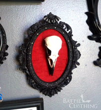 Load image into Gallery viewer, Framed crow skull with coloured silk inlay wall art