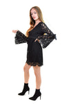 Lace V Neck Bell Sleeve Dress With Ties <br> Chaser
