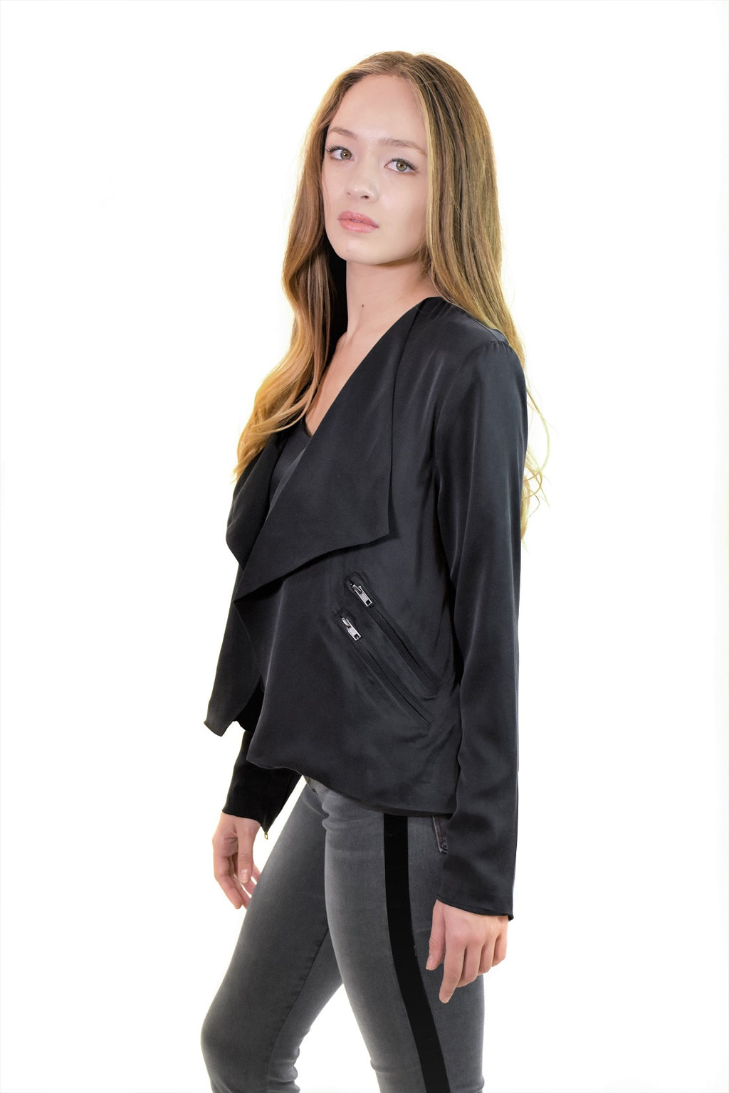 Open Front Collarless Jacket W/Zippers <br> Chaser - Trendy Fox Boutique