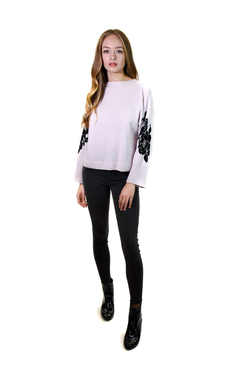 Boxy Crew W/Floral Sleeves <br> Autumn cashmere - Trendy Fox Boutique