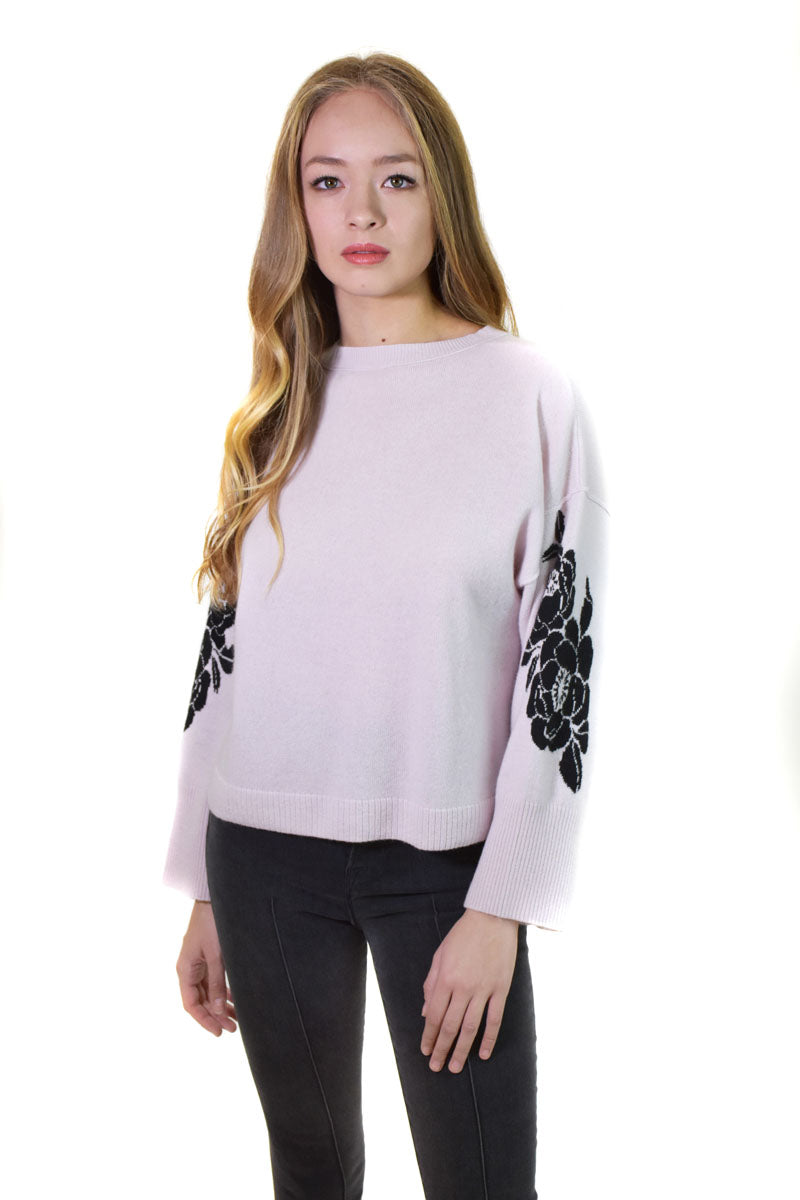 Boxy Crew W/Floral Sleeves <br> Autumn cashmere