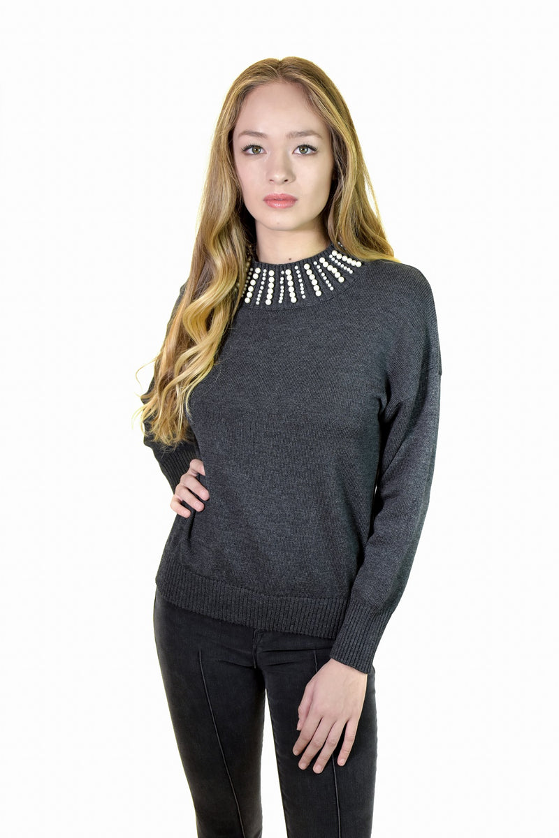 Pearl Mock Sweater <br> Central Park West - Trendy Fox Boutique