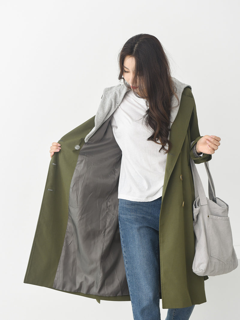 BELTED TRENCH COAT REMOVABLE HOOD - Trendy Fox Boutique