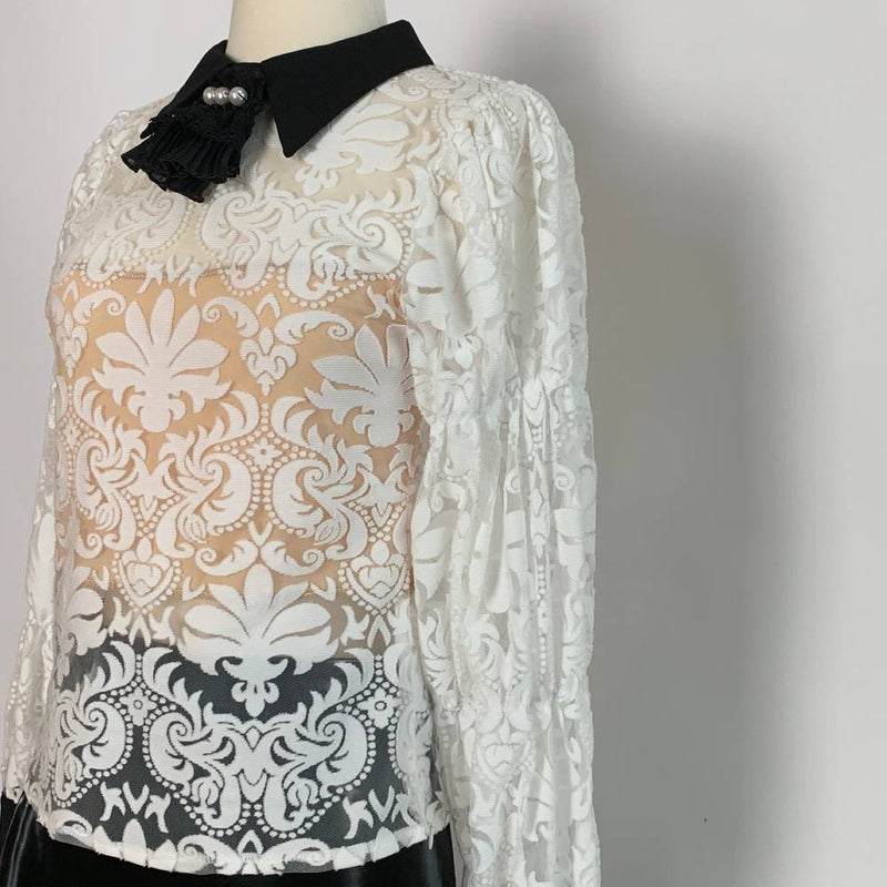 SEMI SHER LACE BLOUSE - Trendy Fox Boutique