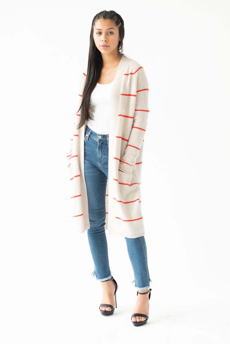 Pencil Red Stripe Open Cardigan <br> Autumn Cashmere - Trendy Fox Boutique