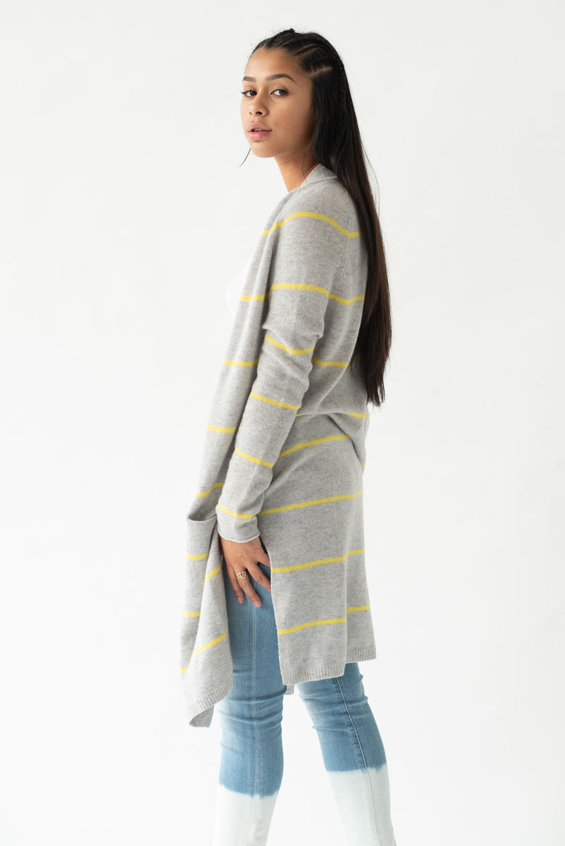 Pencil Stripe Open Cardigan <br> Autumn Cashmere