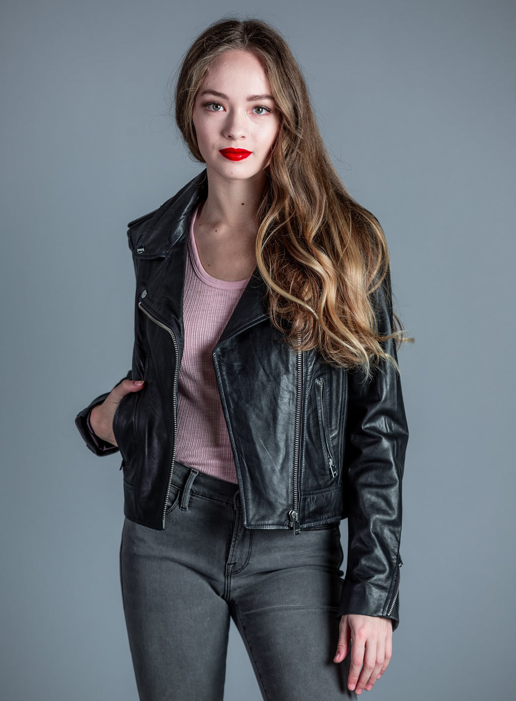 Donna Leather Biker Jacket <br> Lamarque