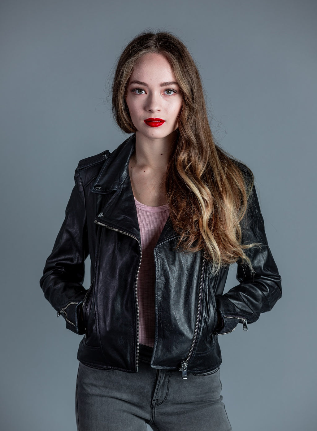 Donna Leather Biker Jacket <br> Lamarque - Trendy Fox Boutique