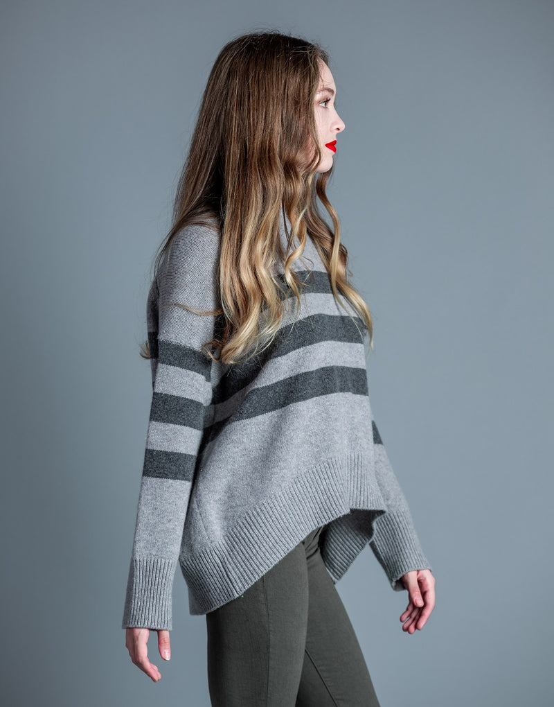 Stripes Oversized Sweater <br> Sundry - Trendy Fox Boutique