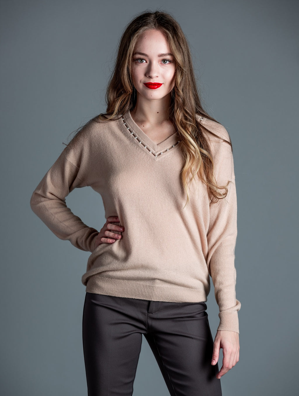 Cashmere Deep V W/Pearls <br> Autumn Cashmere
