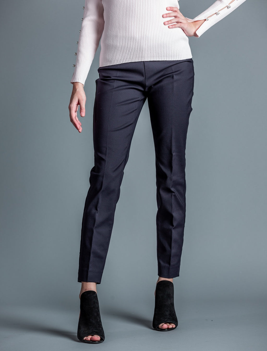 Springfield Slim Leg Pant <br> Ecru - Trendy Fox Boutique
