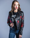 Donna FloraL Jacket W/Embrod-Black <br> LAMARQUE